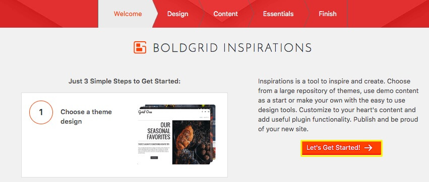 BoldGrid Inspirations.