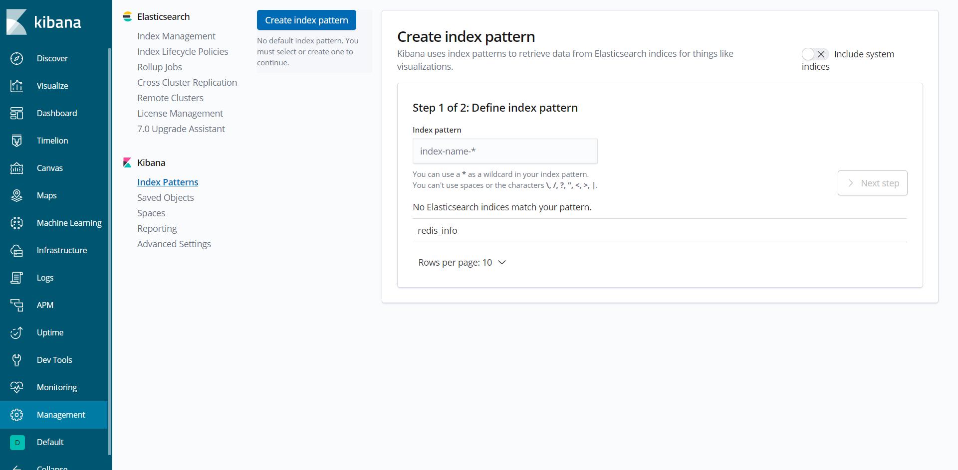 Kibana - Index Pattern Creation