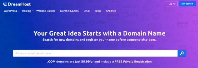 DreamHost's domain name search page.