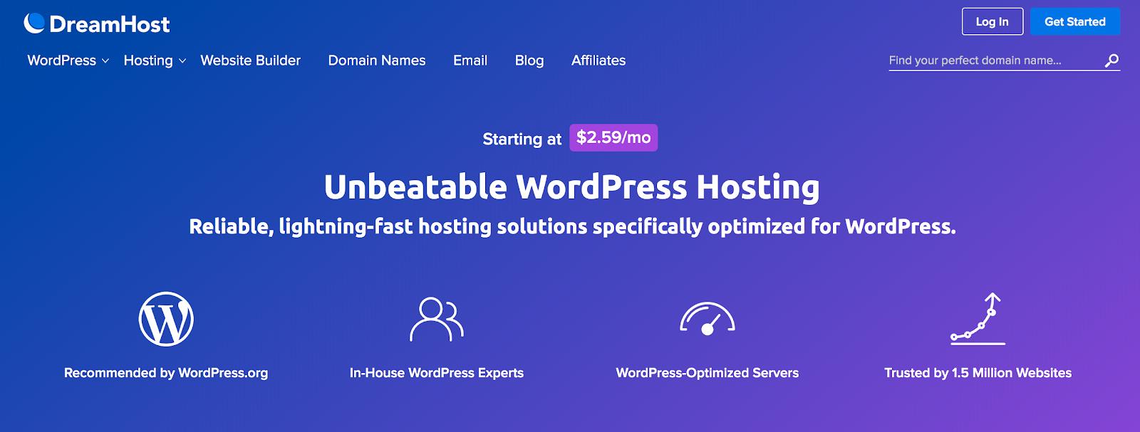 WordPress hosting at DreamHost.