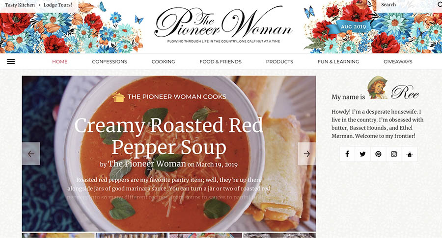 The Pioneer Woman food blog home page.