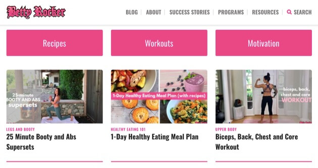 An example of a fitness blog.