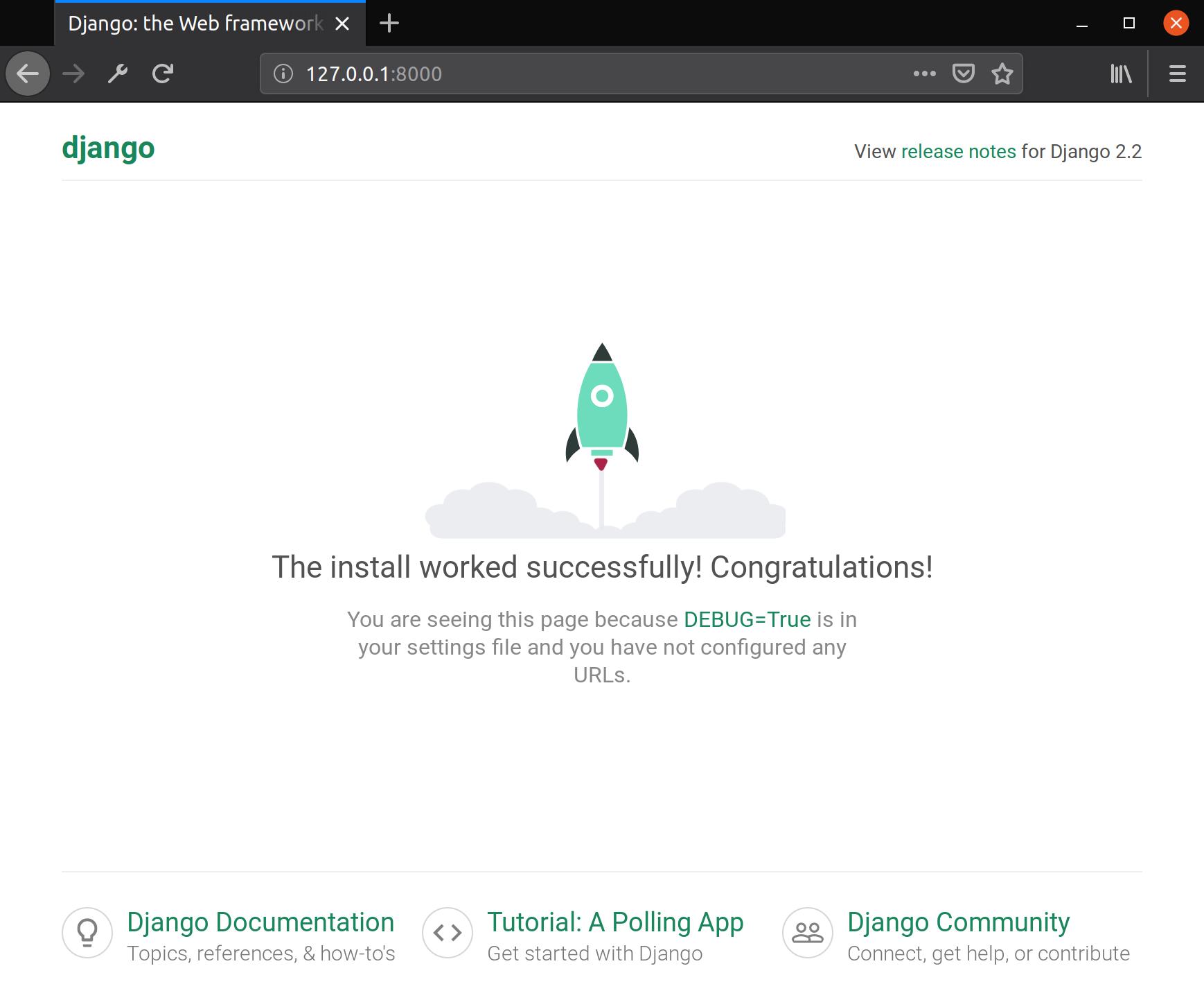 Типовая стартовая страница Django