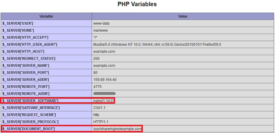 Переменные Nginx PHP Variables