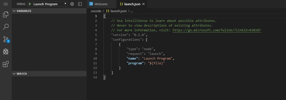 Представление отладчика с открытым файлом launch.json