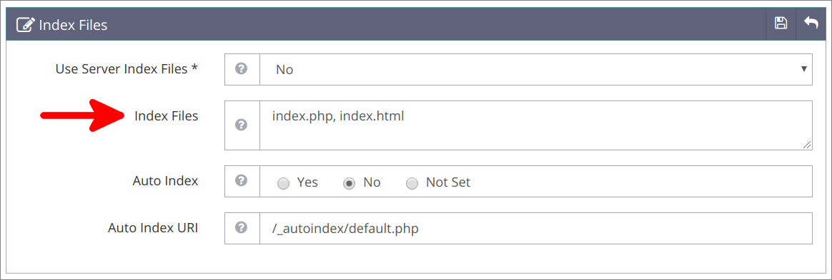 Virtual Hosts geänderte Index Files