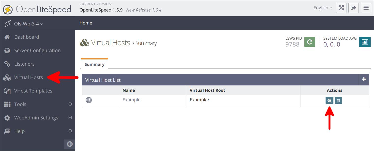 Virtual Hosts page