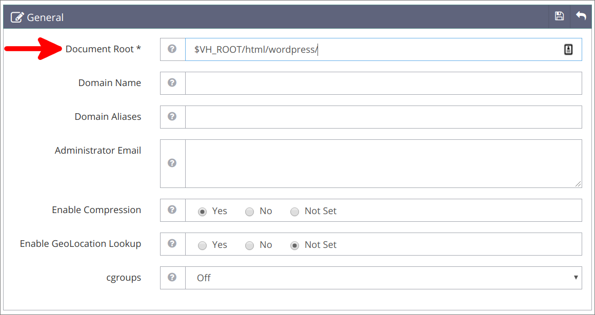 Virtual Hosts Änderungen an General