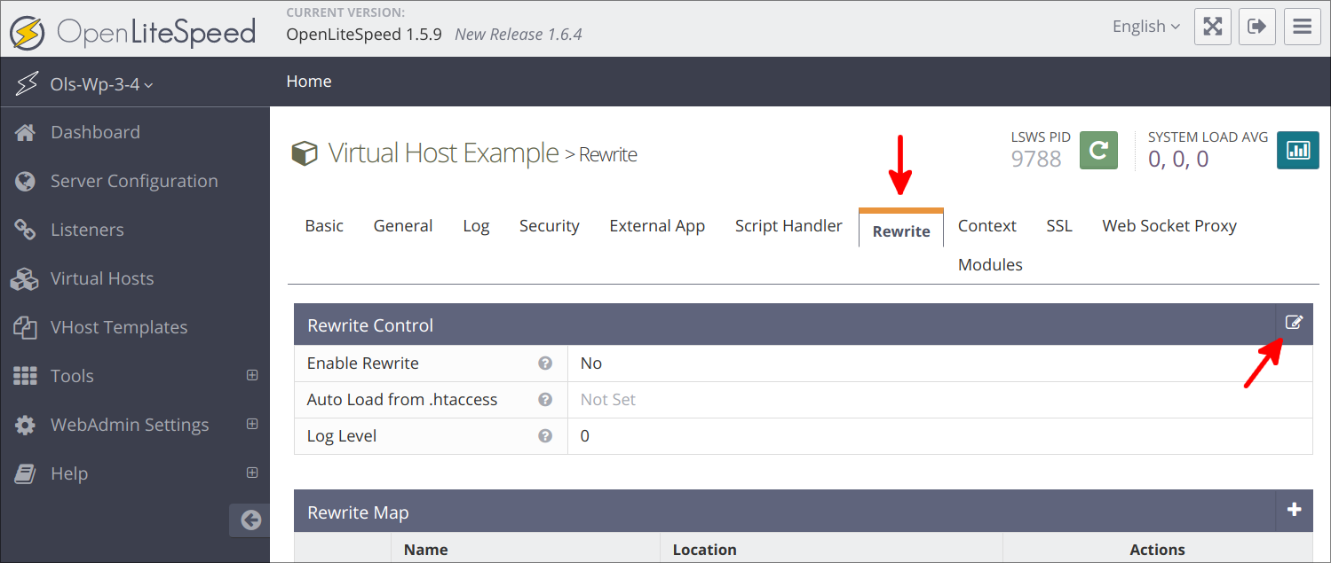 Virtual Hosts Rewrite page