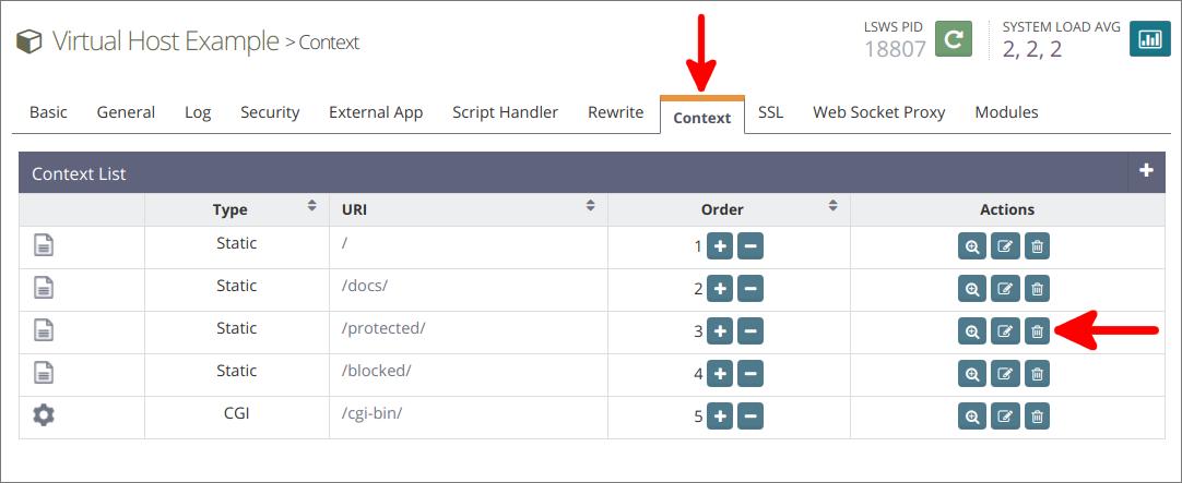 OpenLiteSpeed delete protected context