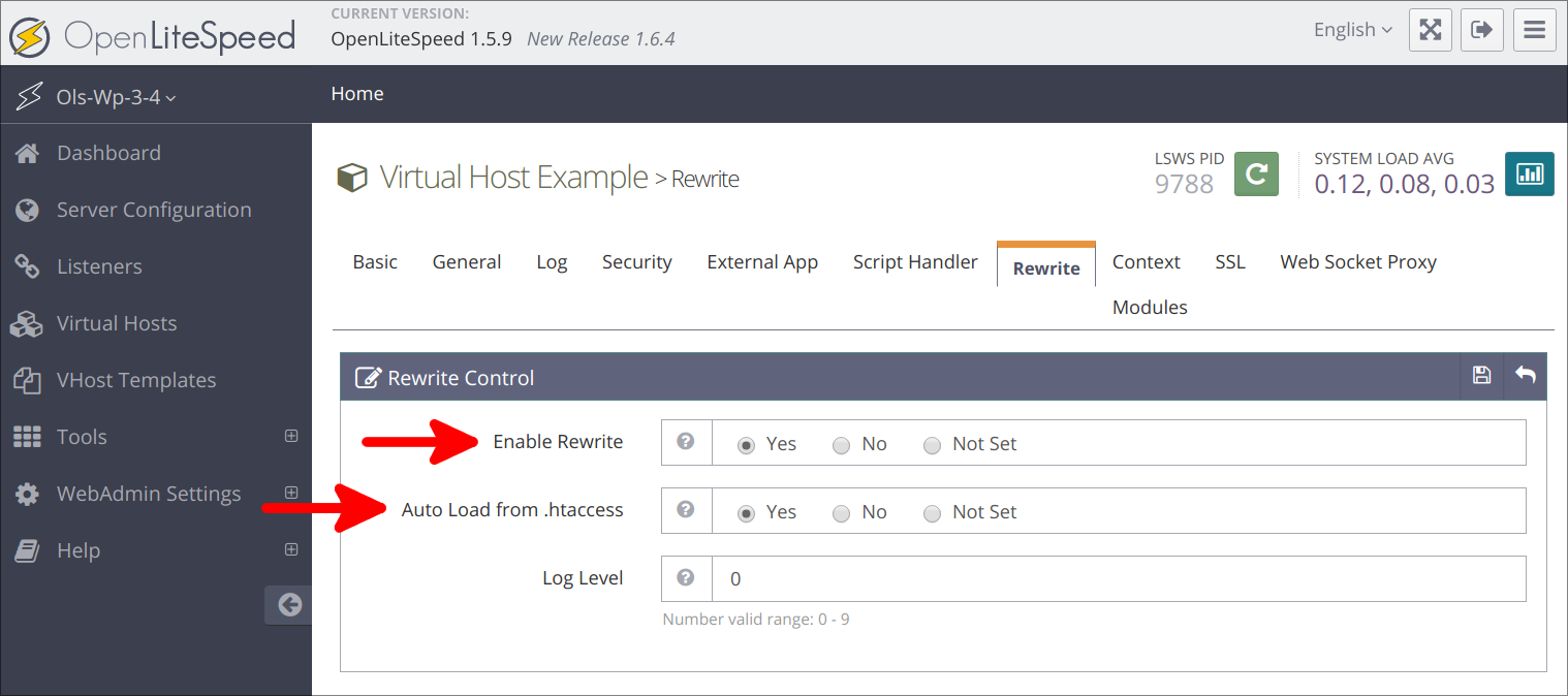 Virtual Hosts rewrite changes