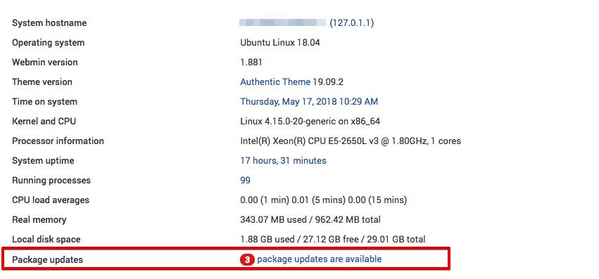 Webmin показывает количество доступных обновлений пакетов