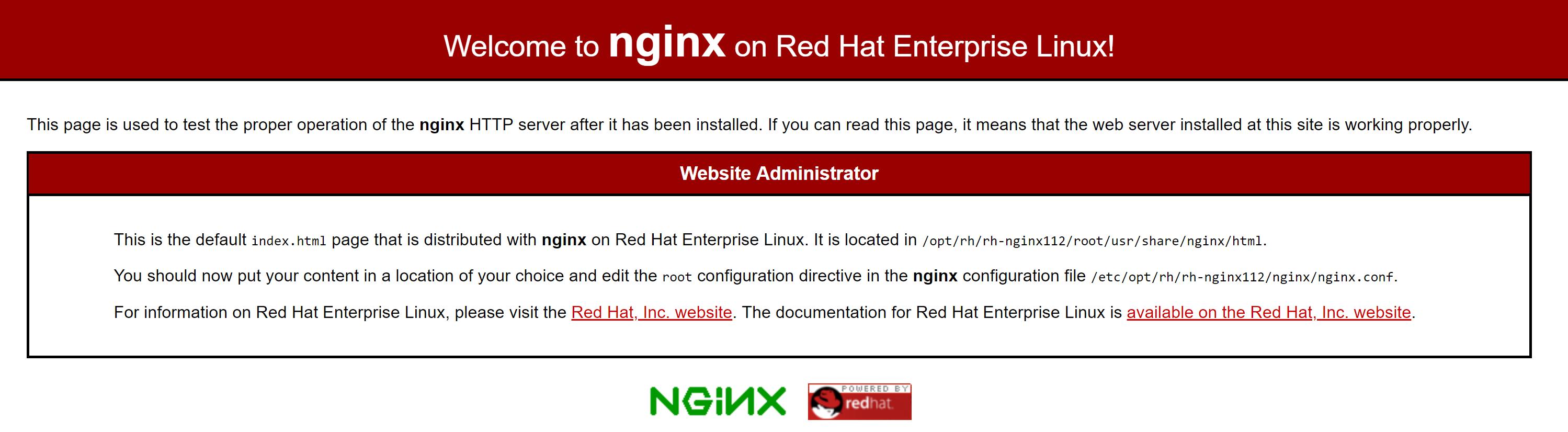 Página predeterminada de Nginx