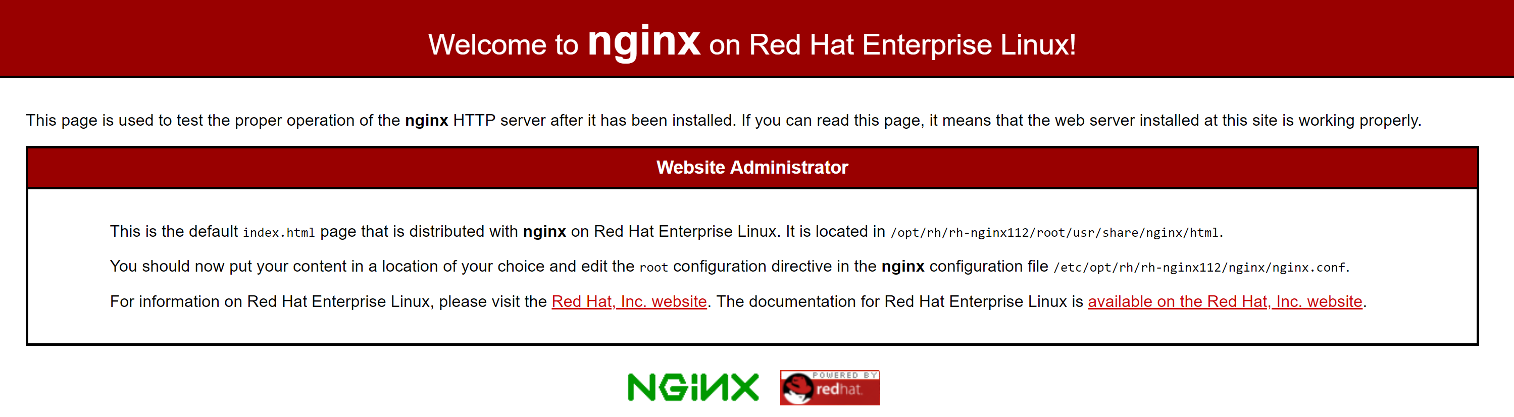Nginx default page