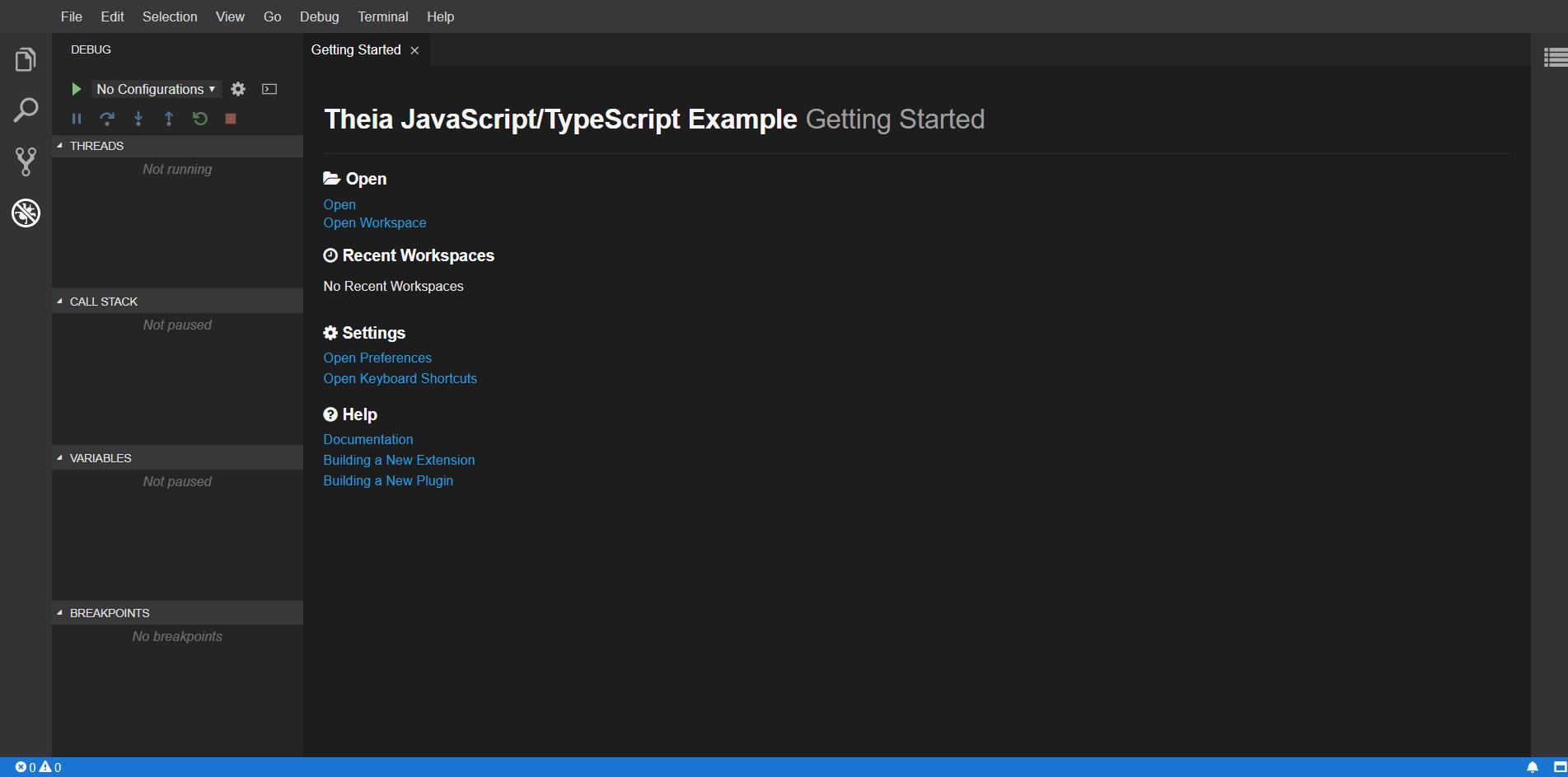 Используемый по умолчанию графический интерфейс редактора Eclipse Theia