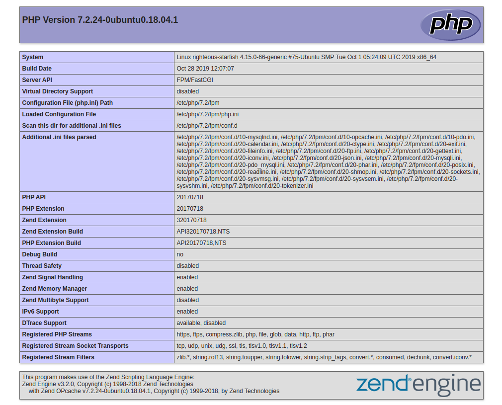 страница phpinfo