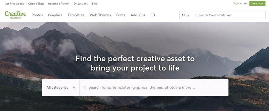 The Creative Market website.