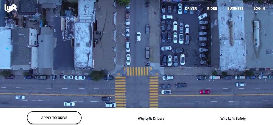 The Lyft rideshare website.