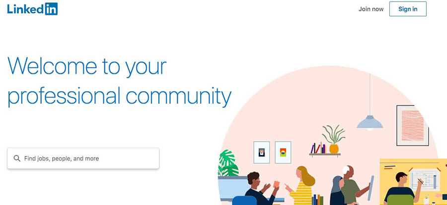 The LinkedIn website.