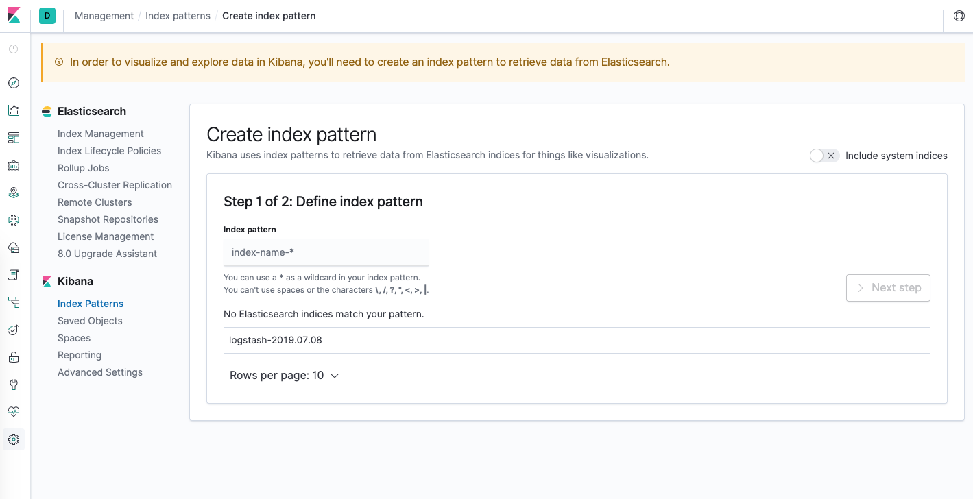 Configuración del patrón de indexación de Kibana