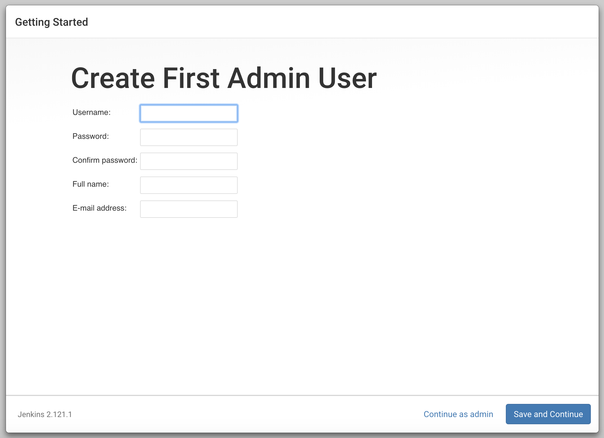 Pantalla Create First Admin User de Jenkins