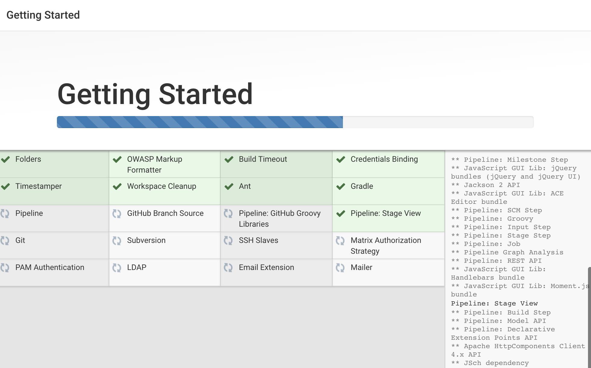 """Bildschirm """"Jenkins Getting Started Install Plugins"""" (Erste Schritte mit Jenkins — Plugins installieren)"""