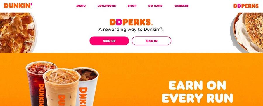 Dunkin' Donuts reward perks.