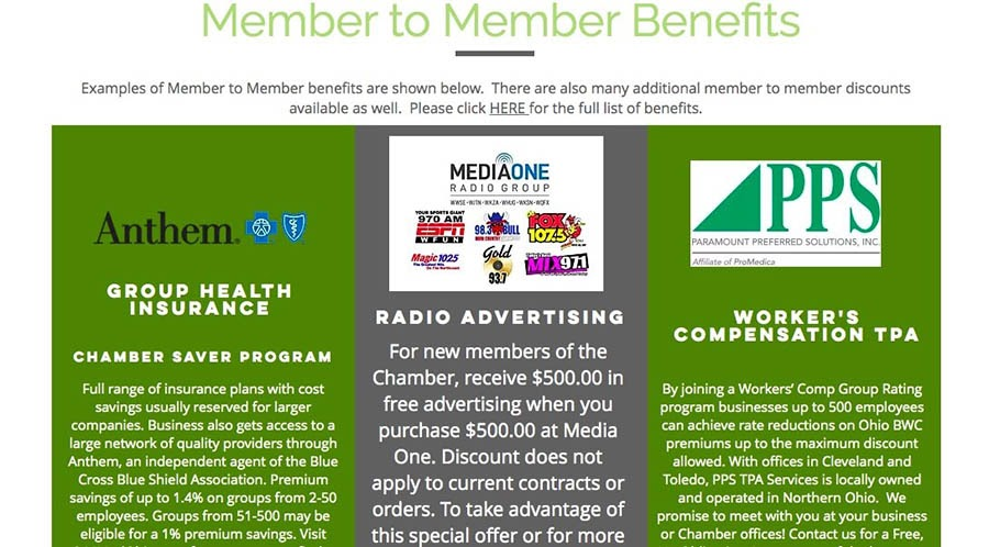 Local chamber of commerce benefits.