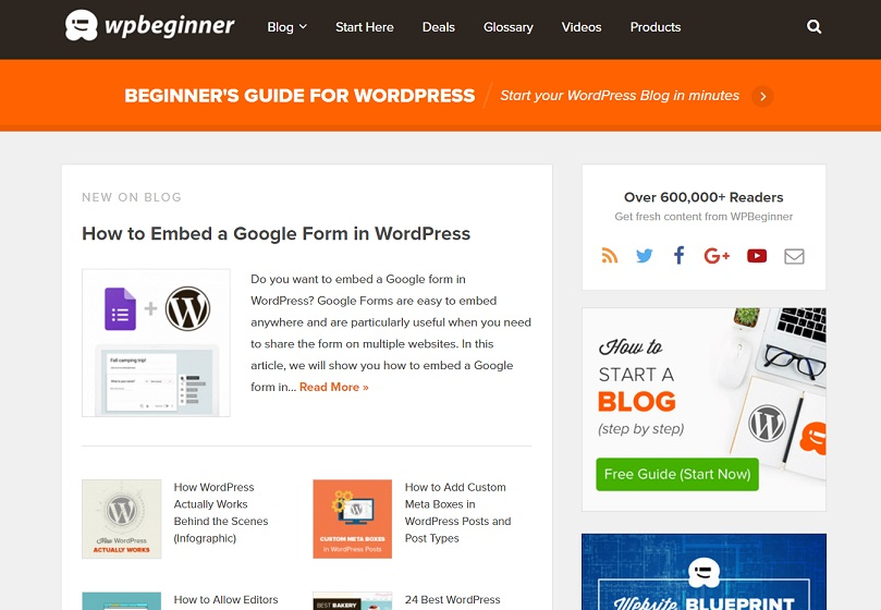 The WPBeginner home page.