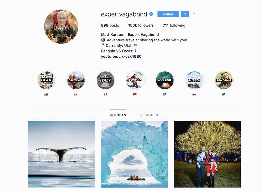 The Expert Vagabond Instagram page.