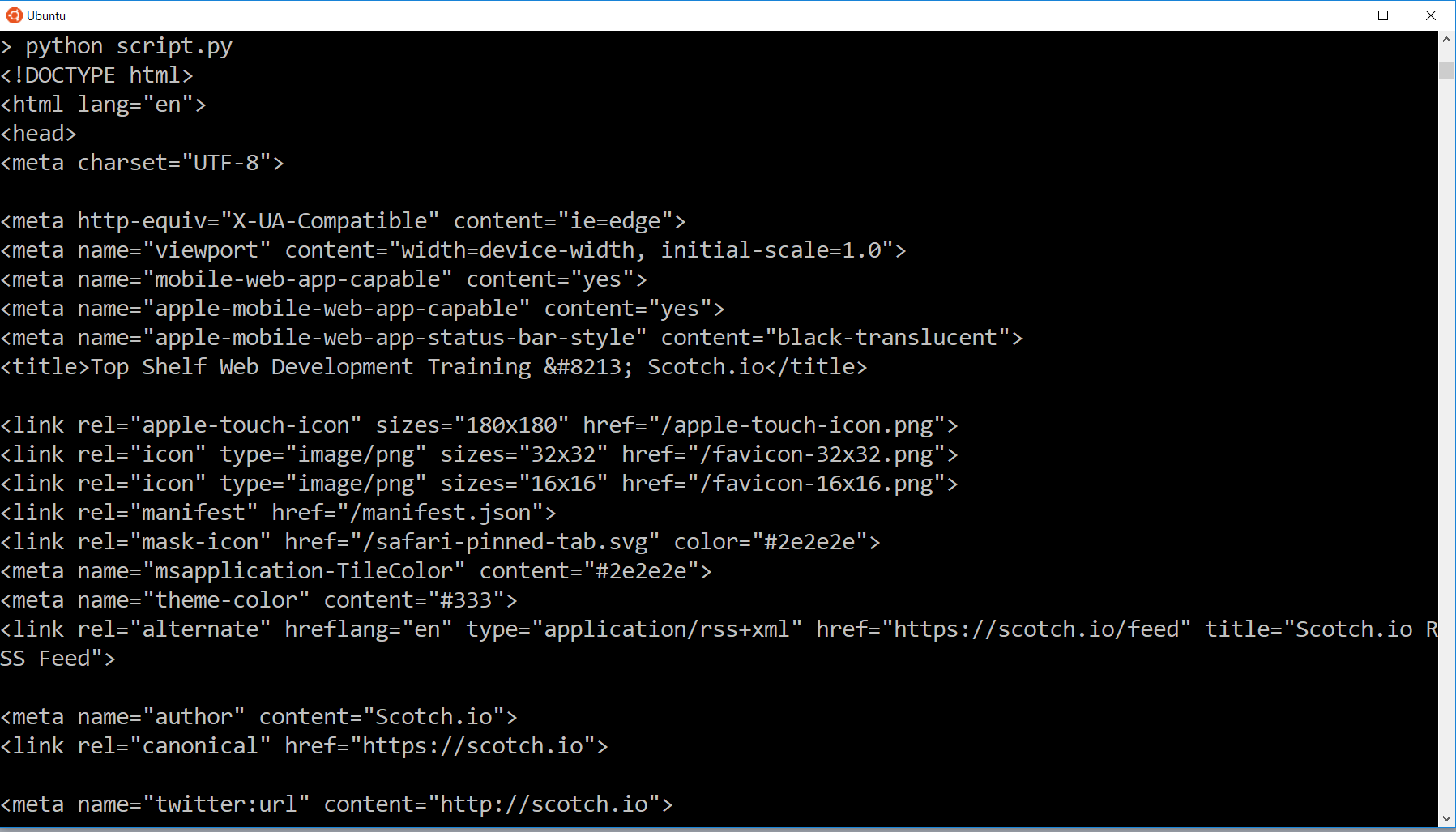 Datos HTML impresos en la línea de comandos