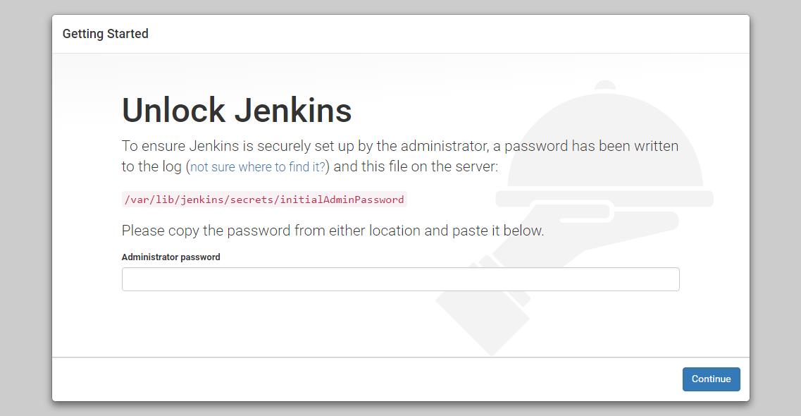 """Bildschirm """"Unlock Jenkins"""" (Jenkins entsperren)"""
