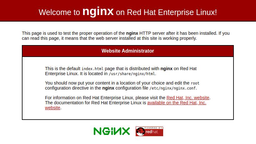 Standard Nginx Page CentOS 8