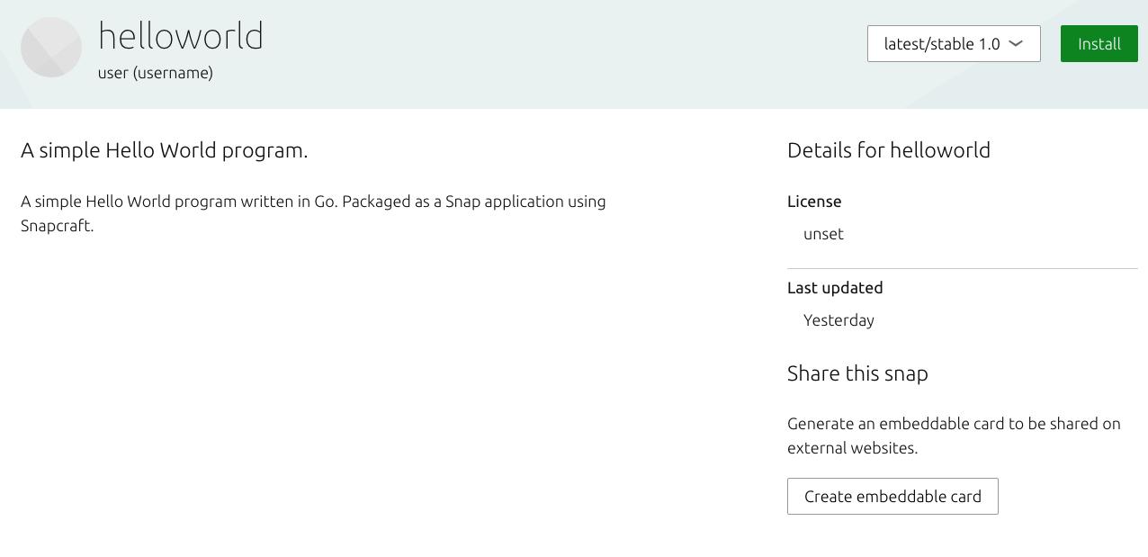 Snapcraft Store mit in den Suchergebnissen angezeigter HelloWorld-Anwendung