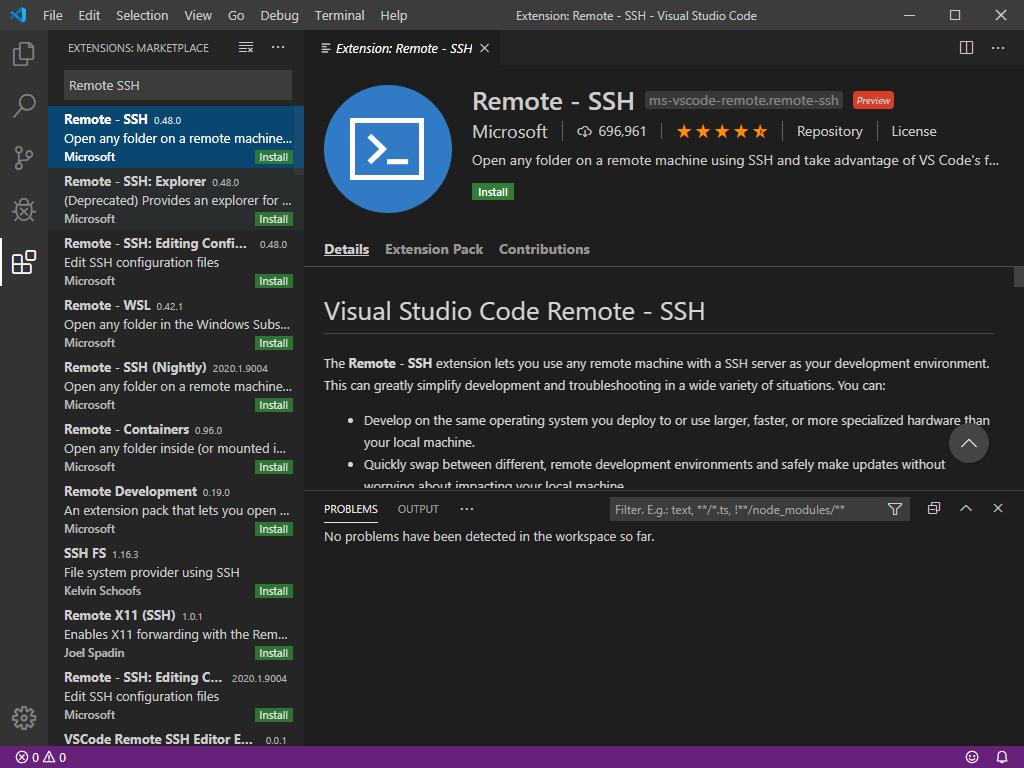 Suchen nach dem Remote-SSH-Plugin