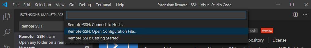 """Auswählen von """"SSH konfigurieren"""" in der Benutzeroberfläche"""