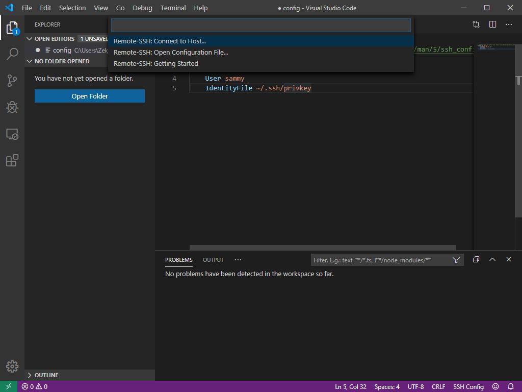 Herstellen einer Verbindung mit dem Server von Visual Studio Code