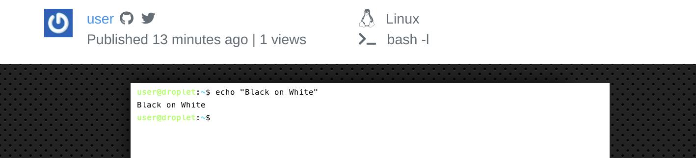 Скриншот веб-сайта Terminalizer, показывающий пример записи с черно-белой темой