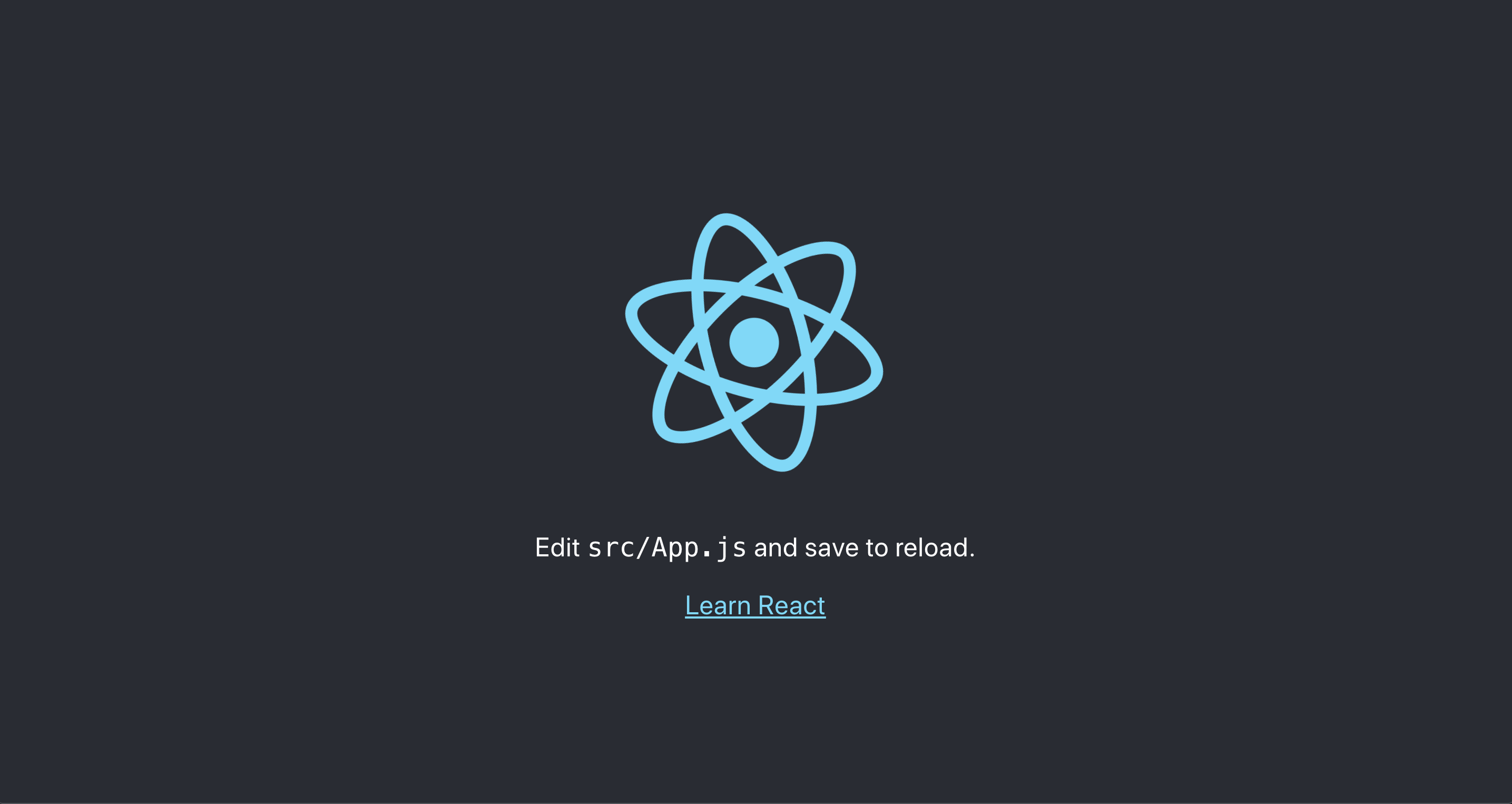 React app with dark background