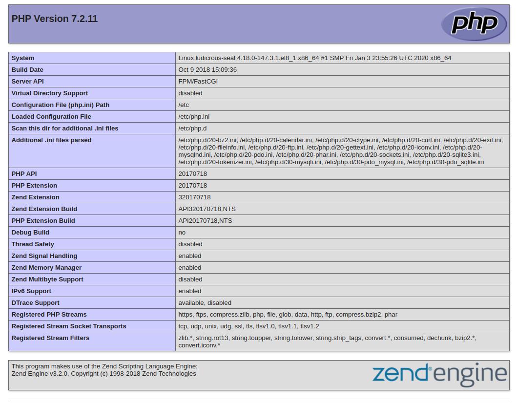 Отображаемая по умолчанию страница с данными PHP  Apache в CentOS 8