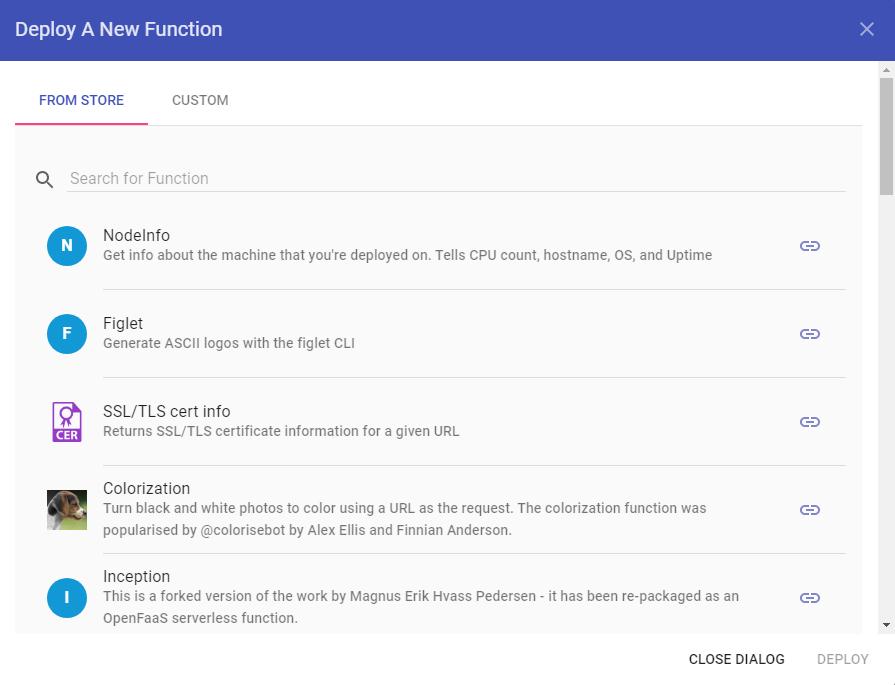 OpenFaaS — диалоговое окно для развертывания новой функции