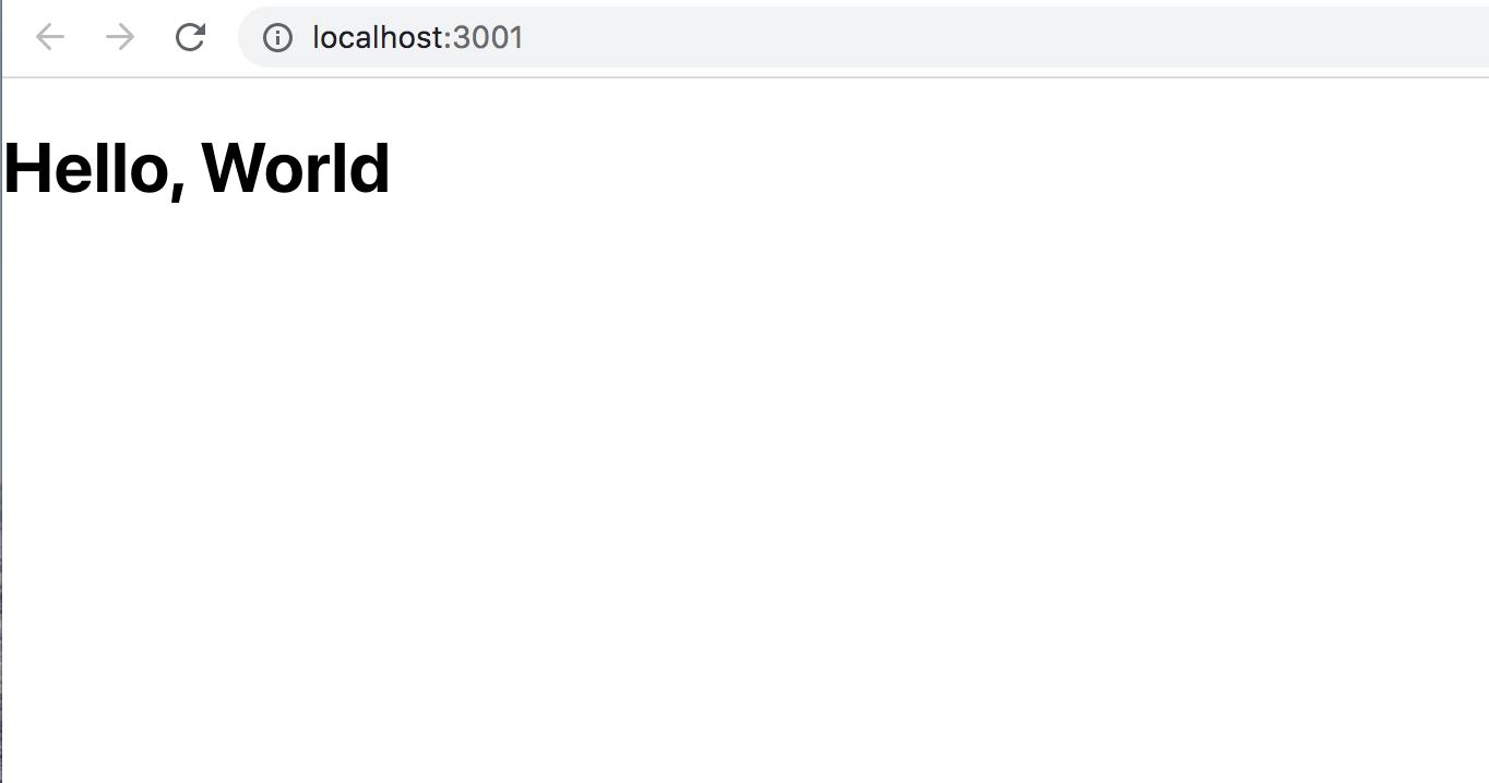 """Bildschirmanzeige des Browsers mit """"Hello, World"""""""