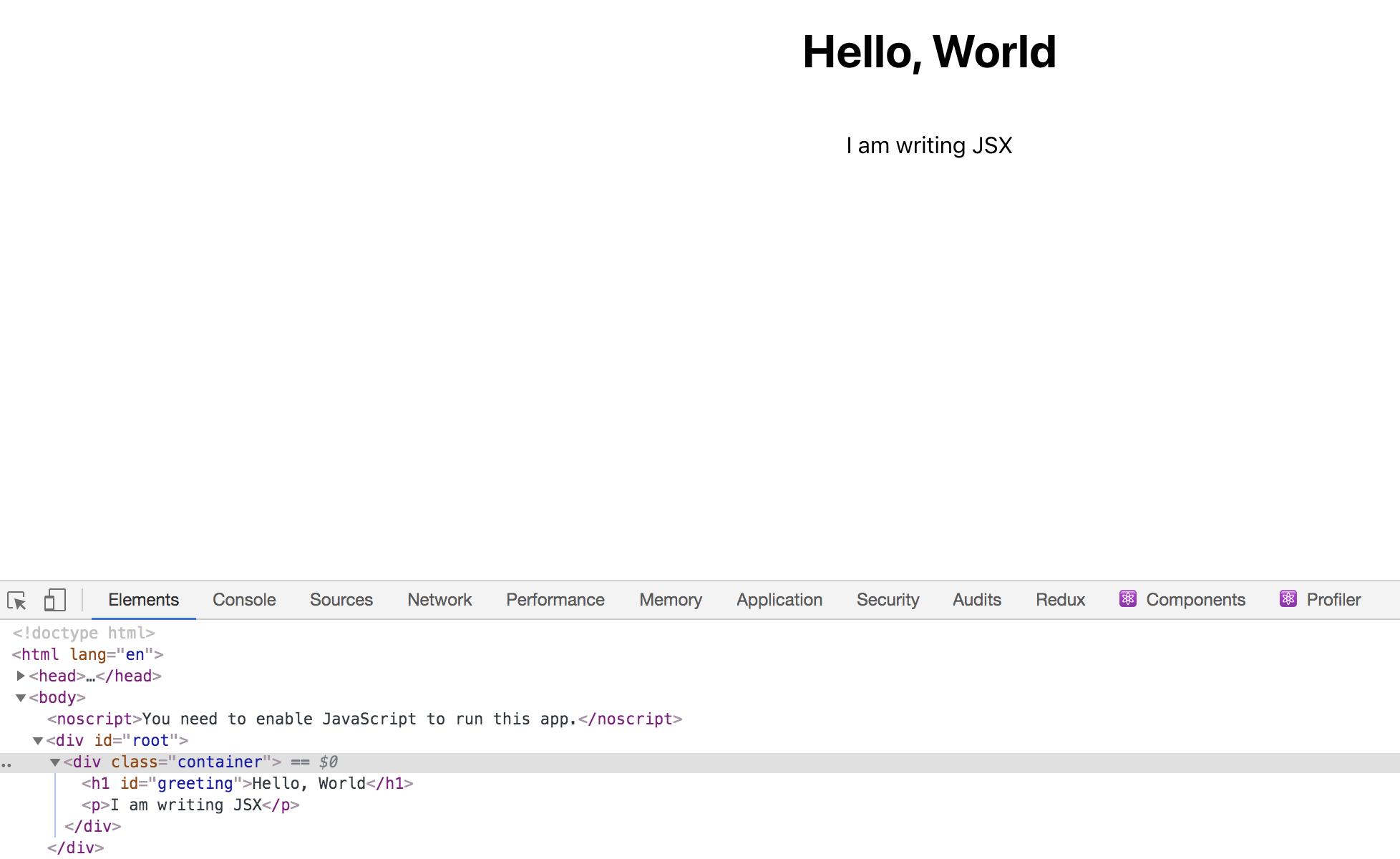 Seite mit hervorgehobenem id-Tag in den Entwickler-Tools
