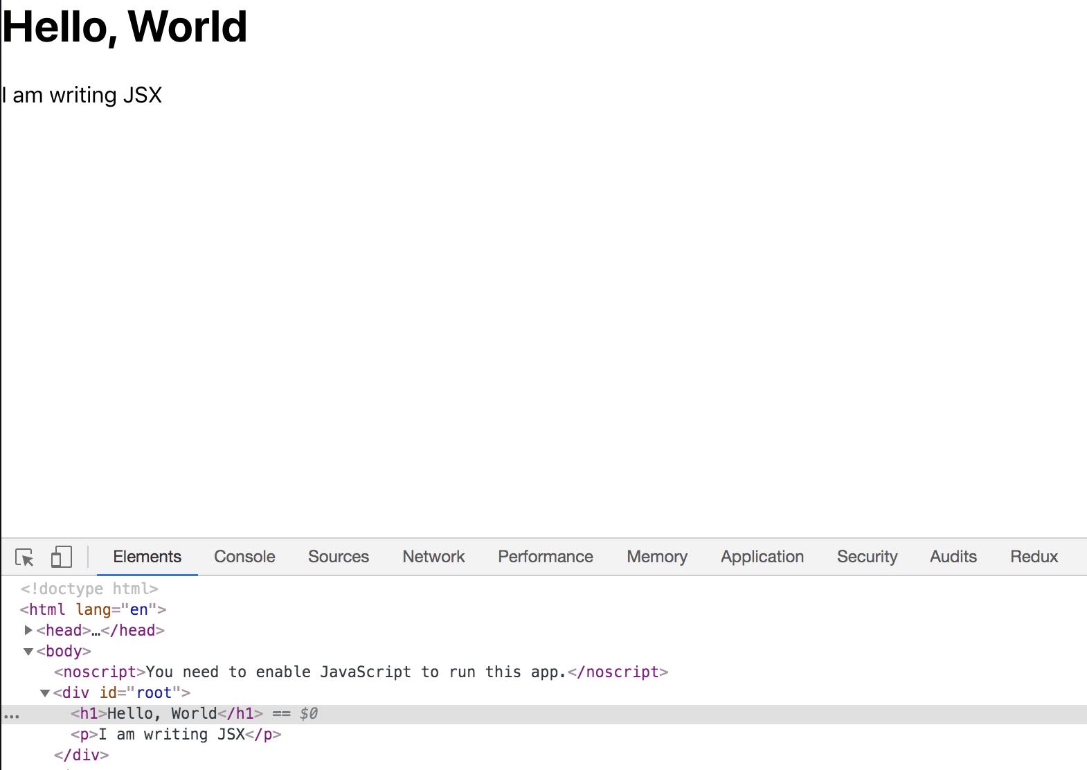 Browser mit Anzeige des Markups und DevTools mit Anzeige des Markups ohne leere Tags