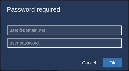 Image showing the Jitsi username and password box