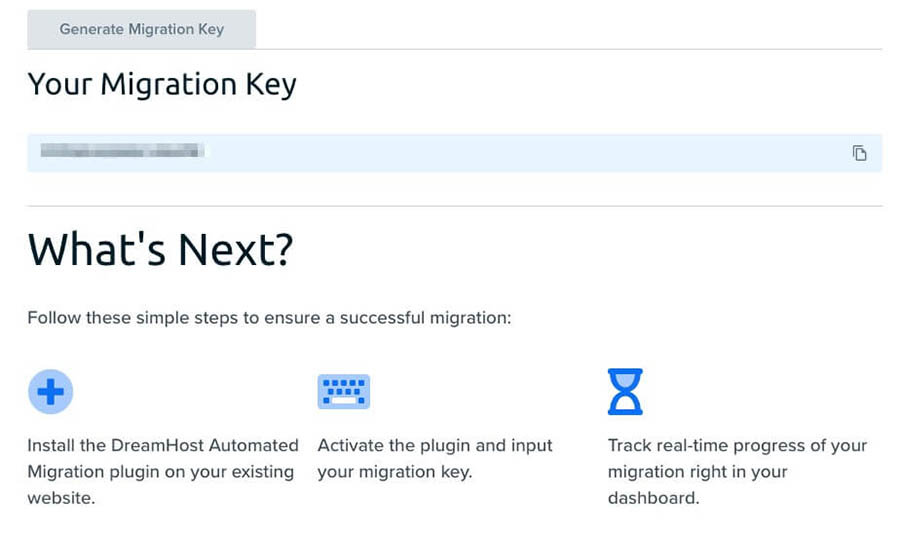 """Where to locate your migration key in a shared plan user panel."""