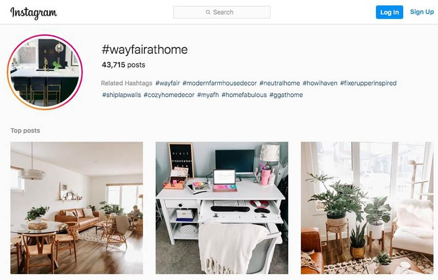 'Wayfair's UGC content campaign on Instagram'.