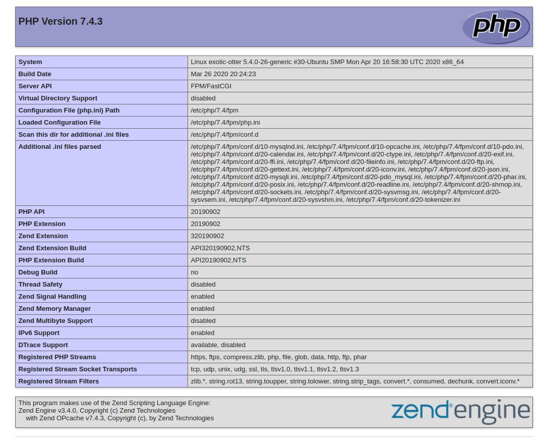 PHPInfo Ubuntu 20.04