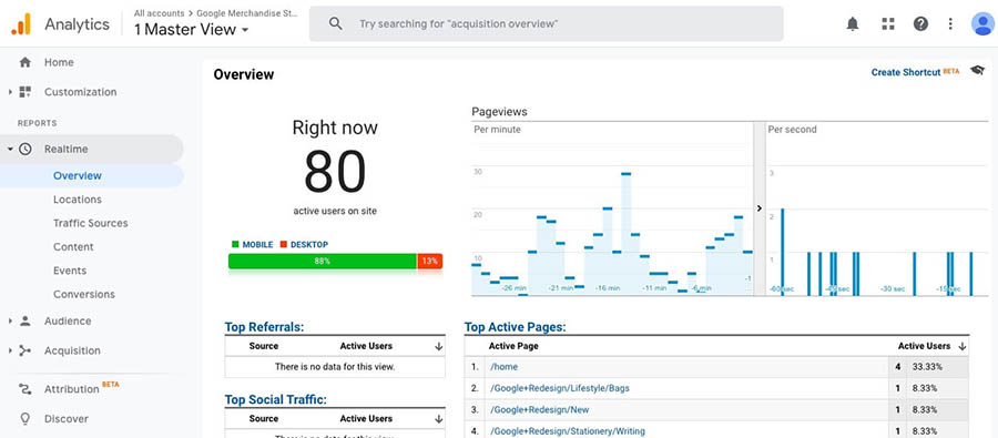 """The Google Analytics dashboard showing page view information."""