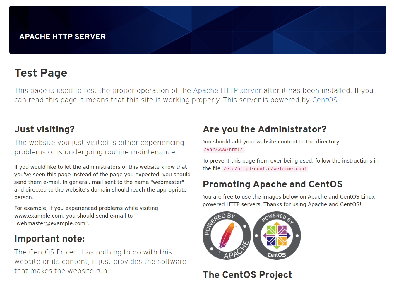 Page Apache par défaut CentOS 8